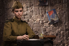 Soviet female soldier in uniform of World War II Royalty Free Stock Photos