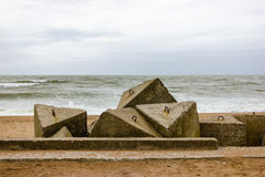 Soviet fortifications ruins of the Baltic Sea coast Royalty Free Stock Images