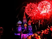 The Soviet Glory is not all gone yet.. Fireworks over the St Basils Cathedral Moscow during the Spasskaya Tower International Military Tattoo Stock Images