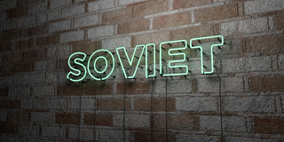SOVIET - Glowing Neon Sign on stonework wall - 3D rendered royalty free stock illustration Stock Image