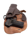 Soviet handgun TT in a holster Stock Images