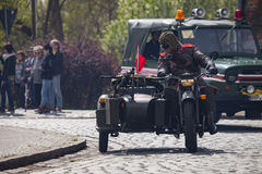 Soviet heavy motorcycle dnepr k 750 with sidecar Stock Images