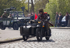 Soviet heavy motorcycle dnepr k 750 with sidecar Royalty Free Stock Images
