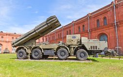 Soviet heavy rocket launcher system 9A52 Smerch Stock Photo