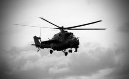 Soviet helicopter Mi-24 Hind. Black and white royalty free stock image