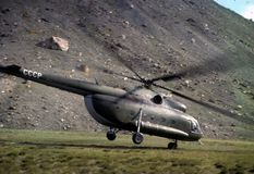 Soviet helicopter taking off Royalty Free Stock Photo