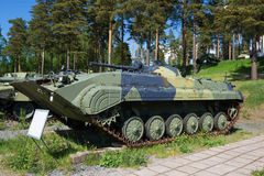 Soviet infantry fighting vehicle BMP-1K of the 1966 model in the armored vehicles museum of the Parola Stock Photo