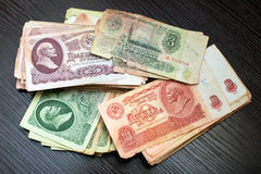 Soviet iscrepancy bills of different denominations Royalty Free Stock Photography