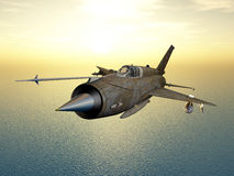 Soviet jet fighter aircraft. Computer generated 3D illustration with a Soviet supersonic jet fighter aircraft of the cold war Royalty Free Stock Photos