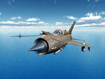 Soviet jet fighter aircraft. Computer generated 3D illustration with a Soviet supersonic jet fighter aircraft of the cold war Royalty Free Stock Image