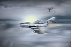 Soviet jet fighter circa 1953. An illustration of a  vintage cold war, first generation Soviet jet fighter circa 1953. Computer art, oil style illustration Royalty Free Stock Images
