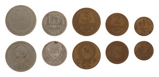 Soviet Kopek Coins Isolated on White Royalty Free Stock Photography