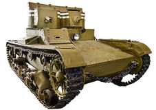 Soviet light infantry twin-turret tank T-26 isolated Stock Photo