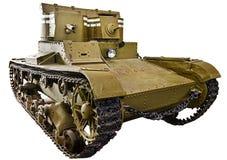 Soviet light infantry twin-turret tank T-26 isolated. Soviet light infantry twin-turret tank T-26. 1932 Stock Photo
