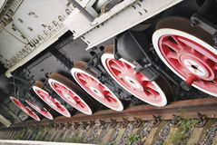 Soviet locomotive. Close up shot of wheels of the soviet locomotive Stock Images