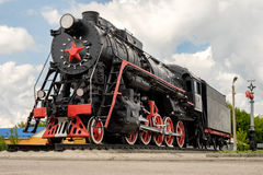 Soviet locomotive. Red star in front Royalty Free Stock Photo