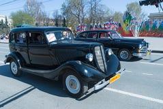 Soviet luxury retro cars on parade. Tyumen. Russia Stock Image