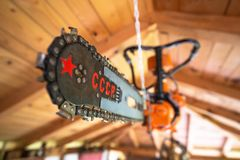 Soviet made chainsaw blade with USSR or CCCP and red star sign. Historic soviet gear royalty free stock image