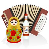 Vodka, accordion, matryoshka Royalty Free Stock Images
