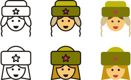 SOVIET man and woman icons Stock Photos