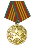 Soviet medal. Soviet union militiaman medal (for 15 years good job Stock Photo