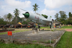 The Soviet MIG-21 in the city of Hue on a cloudy day. Vietnam Royalty Free Stock Photos