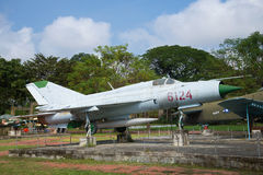 The Soviet MIG-21 stands on a pedestal in the city of Hue. Vietnam Royalty Free Stock Images