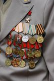 Soviet military awards on veteran chest Royalty Free Stock Images