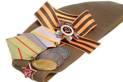 Soviet military cap, Saint George ribbon, medals of Great Patriotic war Royalty Free Stock Photography