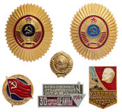 Soviet military and labor icon set Royalty Free Stock Images