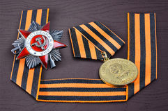 Soviet military medal, Soviet military order, George ribbon Stock Photos