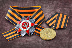 Soviet military medal, Soviet military order, George ribbon Royalty Free Stock Photography
