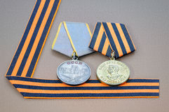 Soviet military medals and George ribbon. Royalty Free Stock Image