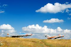 The Soviet military planes. Two Soviet jet planes on launch. Mig-21 and Mig-25 Stock Photography