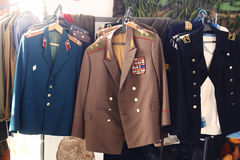 Soviet military uniform. Of the general, officers, soldiers and sailors Stock Images