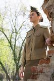 Soviet Military Woman Outdoors Stock Photos