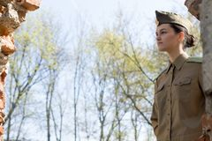 Soviet Military Woman Outdoors Royalty Free Stock Photography