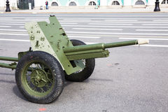 Soviet 45-mm cannon on the city military-patriotic actionon Palace Square, St.-Petersburg Stock Photography