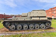 Soviet 76 mm self-propelled gun SU-76M Stock Photo