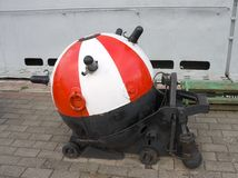 Soviet moored contact naval mine. Painted in red and white Stock Image