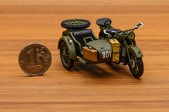 Soviet motorcycle with sidecar. Handmade miniature plastic model Royalty Free Stock Photography