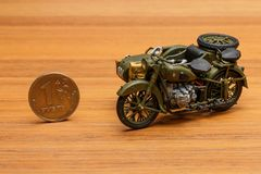 Soviet motorcycle with sidecar. Handmade miniature plastic model Stock Photography