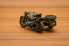 Soviet motorcycle with sidecar. Handmade miniature plastic model Stock Image