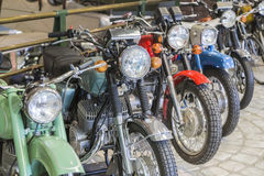 Soviet motorcycle standing in a row Stock Photo