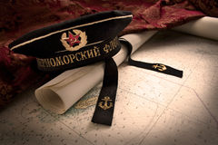 Soviet Naval Hat and Map. Vintage Soviet Union Naval Cap sitting on a map Stock Images