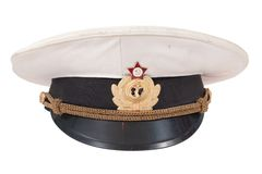 Soviet navy officer's cap isolated on a white background Stock Images