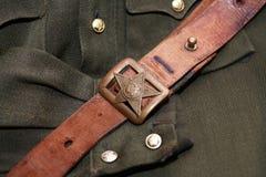 Soviet Officer Belt. World War Two Soviet officer old leather belt and clothing Stock Photo
