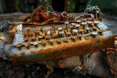 Soviet old, covered with rust, ribbon mechanical typewriter. royalty free stock photos