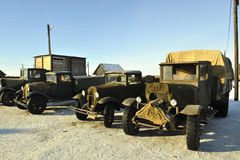 Soviet old  military cargo cars Royalty Free Stock Photo