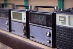 Soviet old radios are standing. On the shelf Stock Images